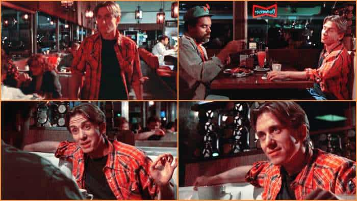 Escena del señor naranja para explicar que son las escaletas de guion de cine